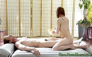 Redhead masseuse screwed