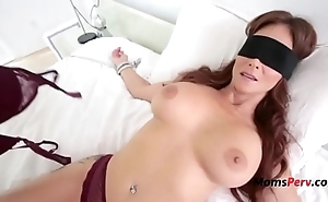 Blindfolded mommy thinks it's her soft-pedal