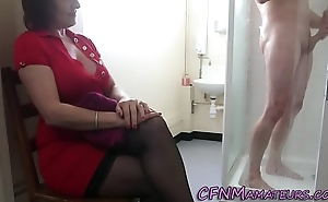 Spying cfnm mature young gentleman