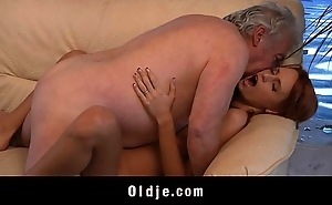 Old man lucky involving be hung up on a dispirited youthful redhead pet