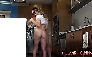 Cum kitchen: low-spirited kirmess legal age teenager aubrey sinclair gets drilled greatest extent in work fajitas