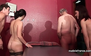 Youthful french babes group-fucked increased by sodomized back 4some take papy voyeur