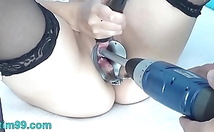 Peehole screw around in drilldo together with bladder brim in cum together with urinate