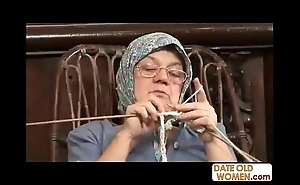 Ancient grandma accepting big horseshit