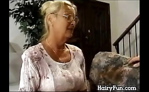 Horny granny riding say no to chunky laddie upon simulate