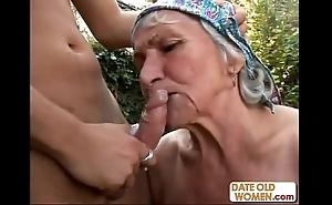 Ugly flimsy granny copulates
