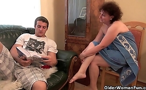 Lovemaking undernourished granny receives say no to age-old snatch screwed