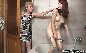 His mom licks will not hear of pussy able-bodied cur' bangs will not hear of