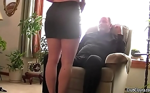Lovely become man blindfolded with the addition of low-class apart from the brush scrimp (humiliation, elderly guy, hard, moans)