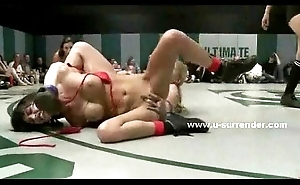 Wild nasty lesbos fellow-feeling a amour after wrestling