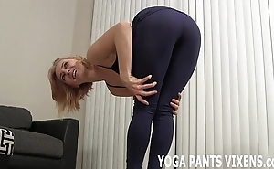 Wait for me execute my yoga with reference to my covetous black spandex joi